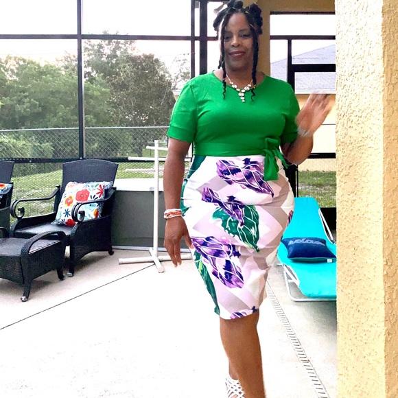 Green Print Midi Dress